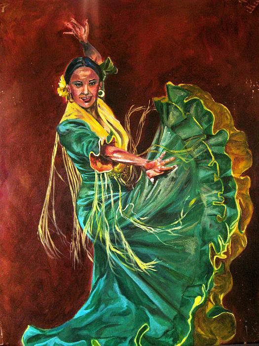 Acrylics Painting - Carlota by Yxia Olivares