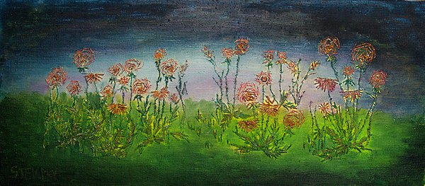 Flowers Drawing - Carnations At Dusk by Jacob Stempky