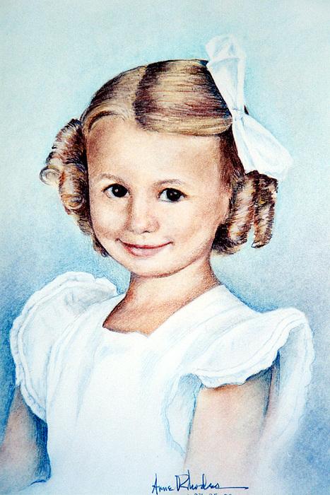 Portrait Drawing - Carol - Age 5 by Anne Rhodes