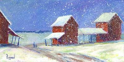 Carolina Blizzard - Barns In Snow Painting by Bob Pittman