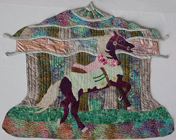 Art Quilt Tapestry - Textile - Carosel Dreams by Dolores Fegan
