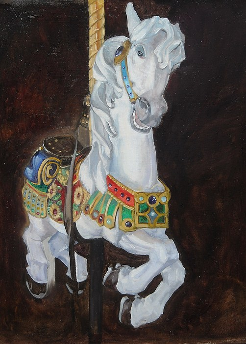 Carousel Horse Painting by Troy Krege