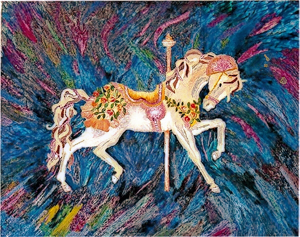Horse Painting - Carousel Horse With Dark Background by Brenda Adams