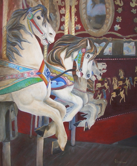 Horse Painting - Carousel Horses by Linda Cleveland