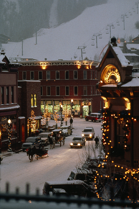 Aspen Photograph - Carriage And Slded On Snowy Steets by Paul Chesley