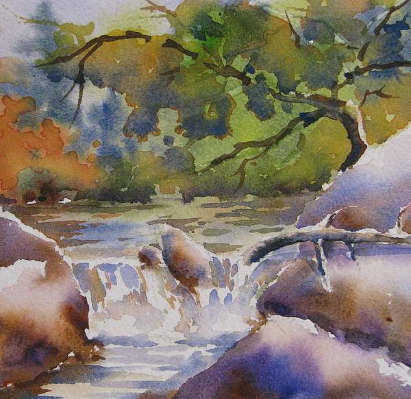 Watercolor Painting - Cascade 2 by Chito Gonzaga