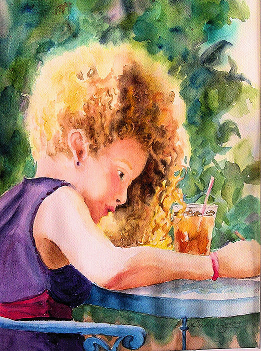 Girl Painting - Cascading Sunbeams by Barbara Jung