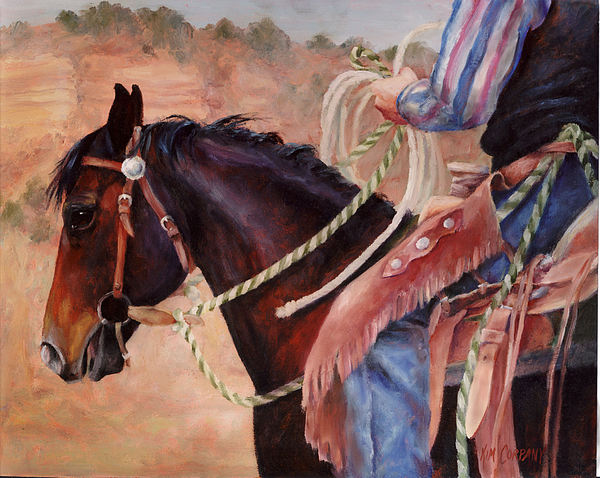 Horse Painting - Castle Rock Buckaroo Western Cowboy Painting by Kim Corpany