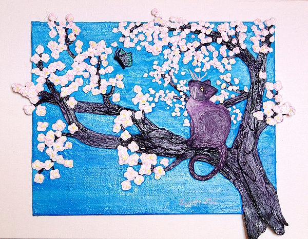 Cherry Tree Mixed Media - Cat Among The Cherry Blossoms by Sarah Swift