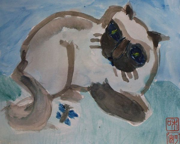 Chinese Painting Painting - Cat And Butterfly by Annie Dameron