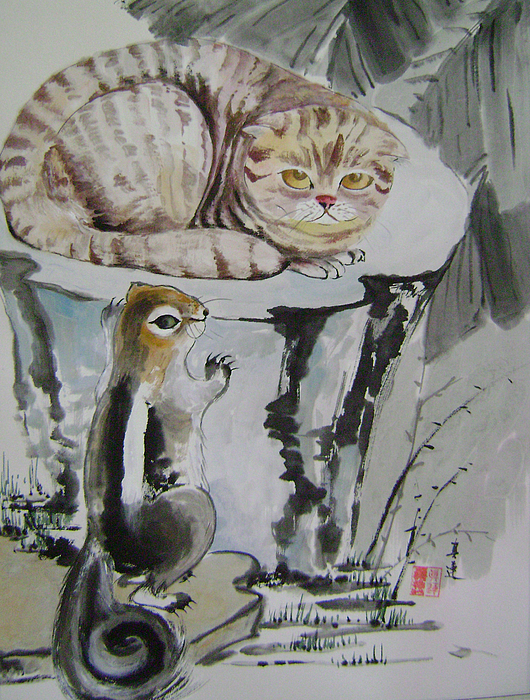Cats Painting - Cat And Squirrel by Lian Zhen