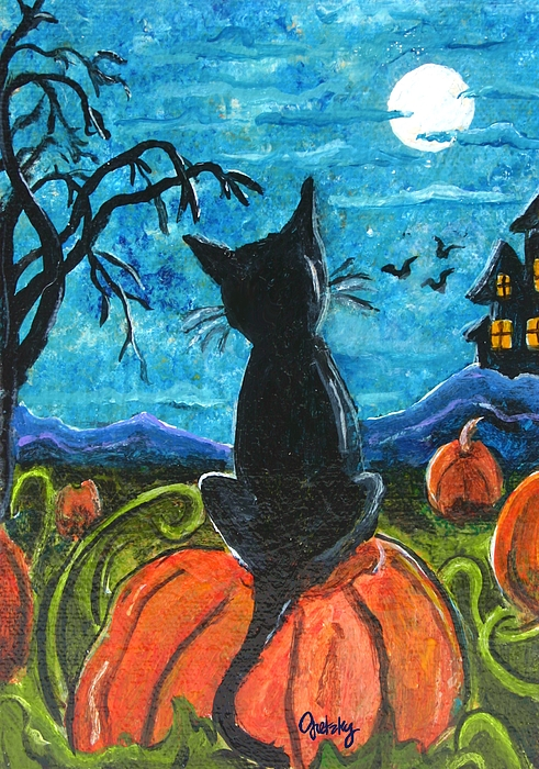 Cat In Pumpkin Patch Painting by Paintings by Gretzky