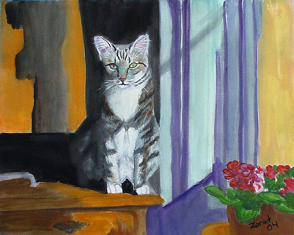 Cat Painting - Cat In Window by Mary Jo Zorad