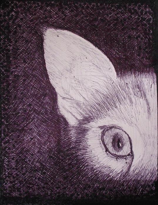 Cat Drawing - Cat Lurking by SAIGON De Manila