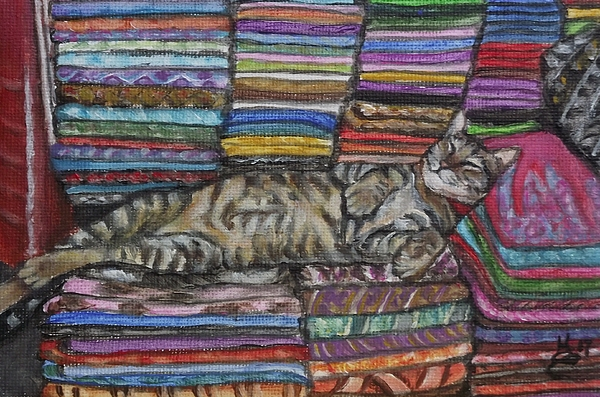 Acrylic Painting - Cat Nap by Kim Selig