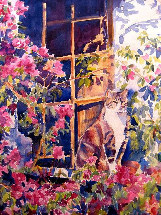 Cat Painting - Cat On The Sill In Trapani by Joyce Kanyuk