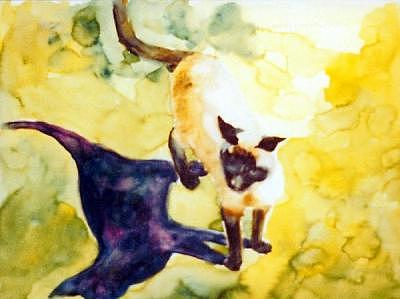 Cat Abstract Painting - Cat Shadows by Helen Hickey