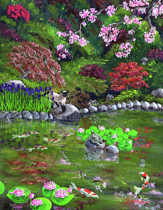Zen Painting - Cat Turtle And Water Lilies by Laura Iverson