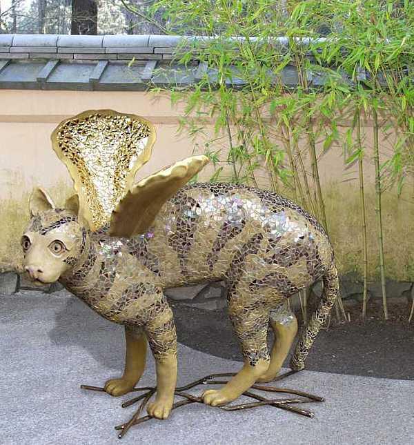 Cat With Wings Sculpture by Faducci- Solomon Bassoff Domenica Mottarella
