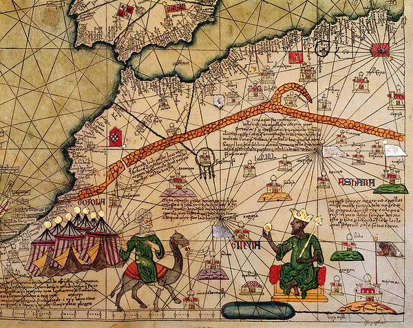Detail Drawing - Catalan Map Of Europe And North Africa Charles V Of France In 1381  by Abraham Cresques