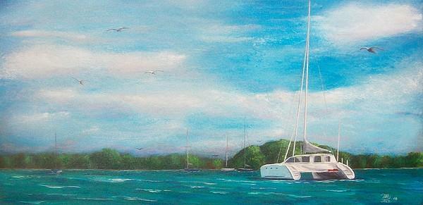 Seascape Painting - Catamaran In Salinas Harbor by Tony Rodriguez