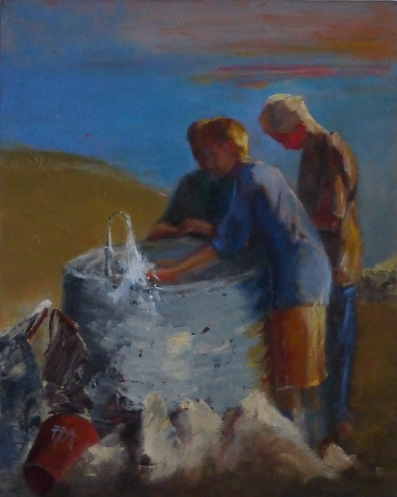 Boys Painting - Catch Of The Day by Irena Jablonski