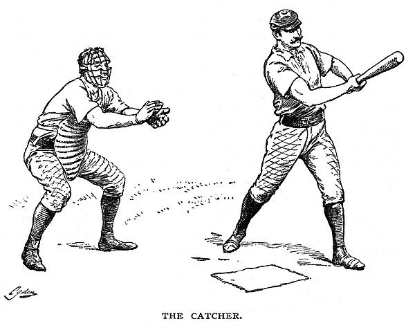 1889 Photograph - Catcher & Batter, 1889 by Granger