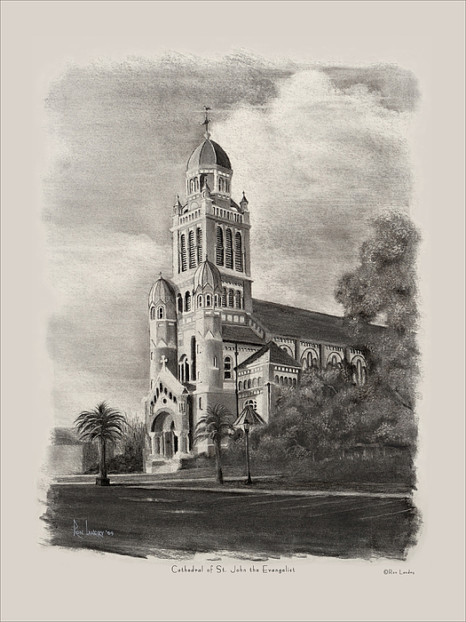 Cathedral Drawing - Cathedral Of St John The Evangelist by Ron Landry