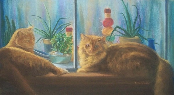 Cats Painting - Cats In The Window by Diane Caudle