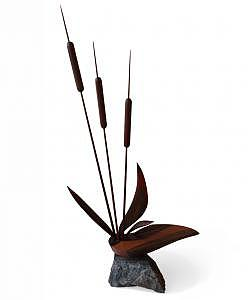 Cattail On A Rock Sculpture by Steven Bunnelle