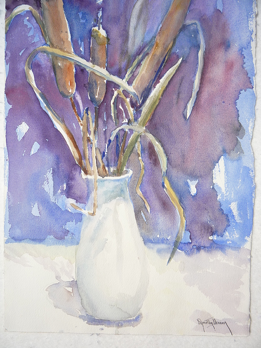 Still Life Painting - Cattails On White by Dorothy Herron