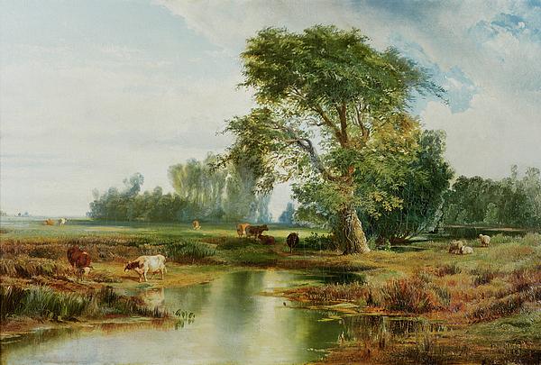 Moran Painting - Cattle Watering by Thomas Moran