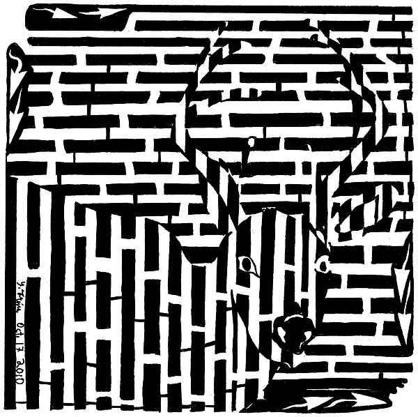Maze Drawing - Caught In The Headlights Maze by Yonatan Frimer Maze Artist