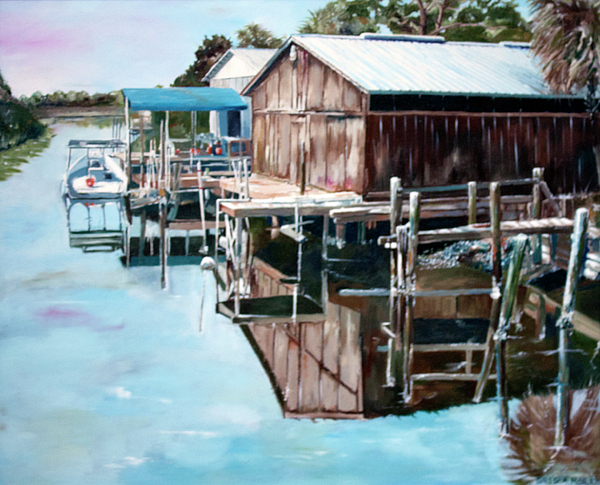 Boat Painting - Cedar Key Reflections 2 by Greg Morris
