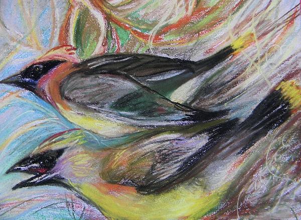 Cedar Waxwings Pastel - Cedar Waxwings by Emily Michaud
