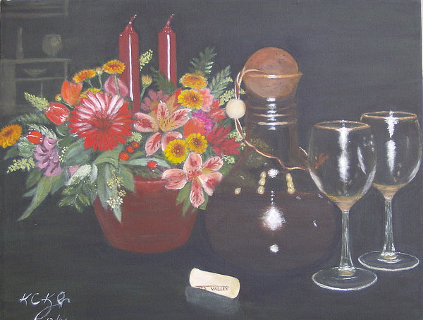 Flower Arrangement Painting - Celebrating 60 by KC Knight