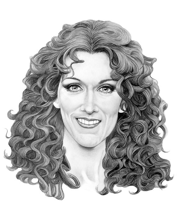 Pencil Drawing - Celine Dion by Murphy Elliott