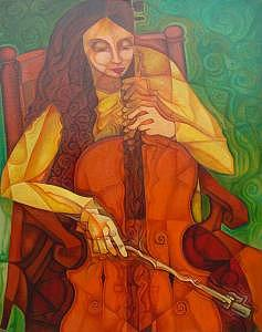 Cello Painting by Paul Grech
