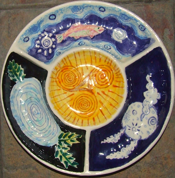 Celtic Ceramic Art - Celtic Spiral Chip And Dip by Angela Annas