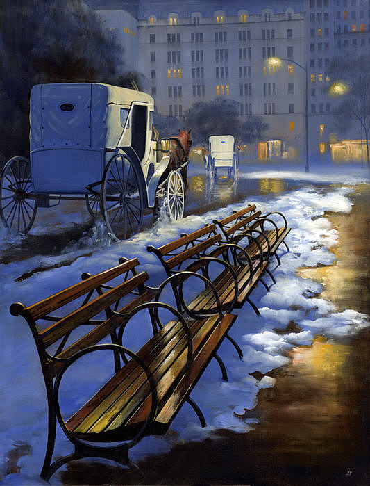 New York Central Park Painting - Central Park Carriage Ride by Janet Ternoff