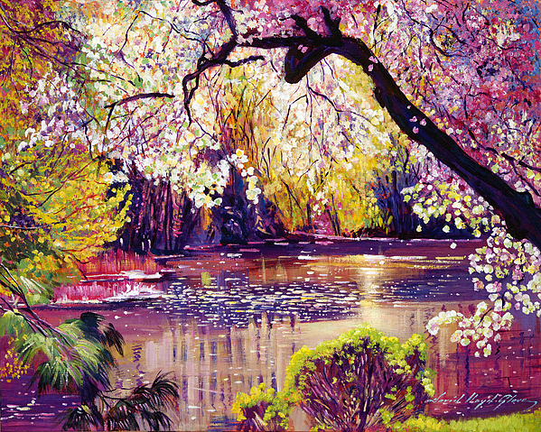 Landscape Painting - Central Park Spring Pond by David Lloyd Glover