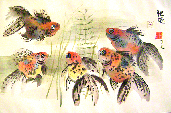 Fish Painting - Centre Of Attraction by Lian Zhen