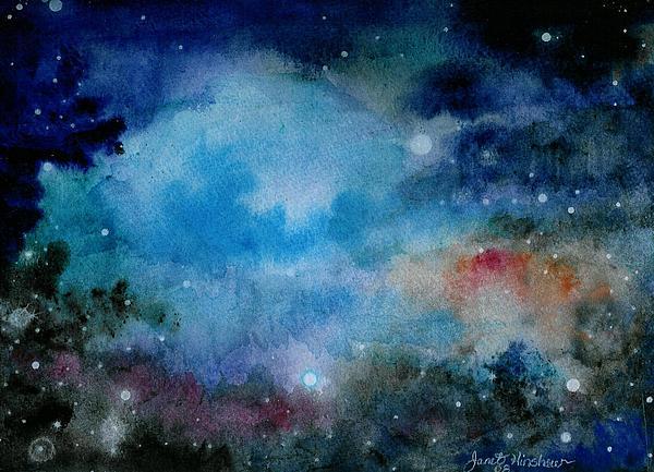 Atmospheric Painting - Cerulean Space Clouds by Janet Hinshaw