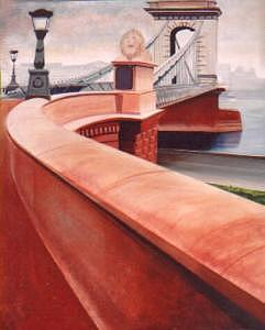 Chain Bridge Budapest Painting by Liz Konstantinov