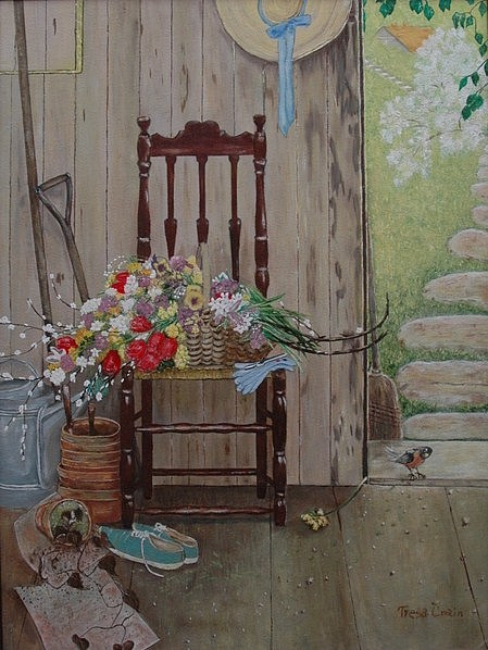 Chair Painting - Chair With Flower Basket by Tresa Crain