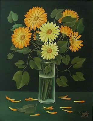 Floral Painting - Chamomile by Olga Levitas