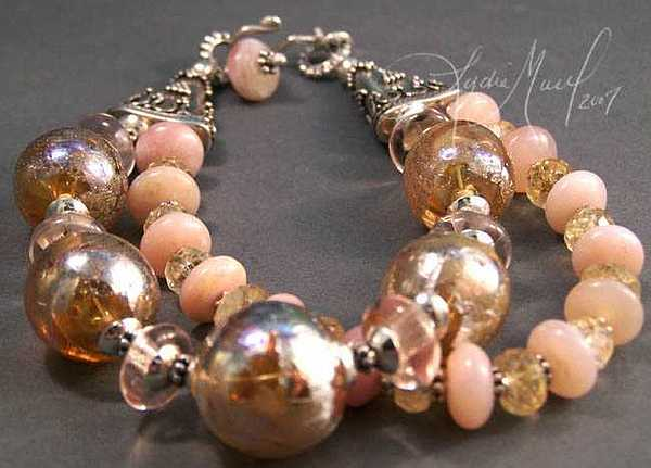 Flameworked Hollow Glass Beads Jewelry - Champagne Wishes Bracelet by Lydia Muell