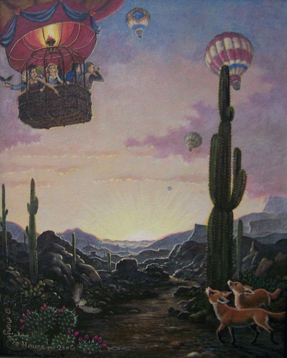 Desert Painting - Chance Meeting  by Marjorie Hause
