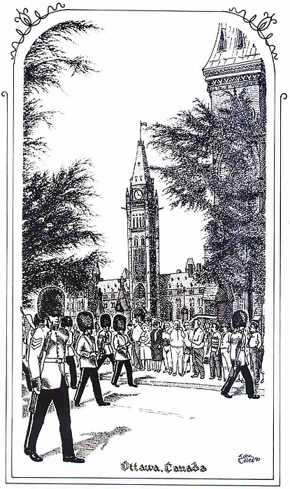 Cityscape Mixed Media - Changing Of The Guard Ottawa 1995 by John Cullen