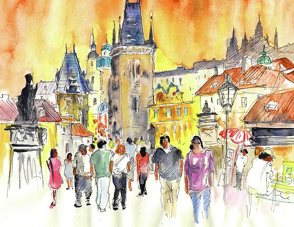Czech Republic Painting - Charles Bridge In Prague In The Czech Republic by Miki De Goodaboom